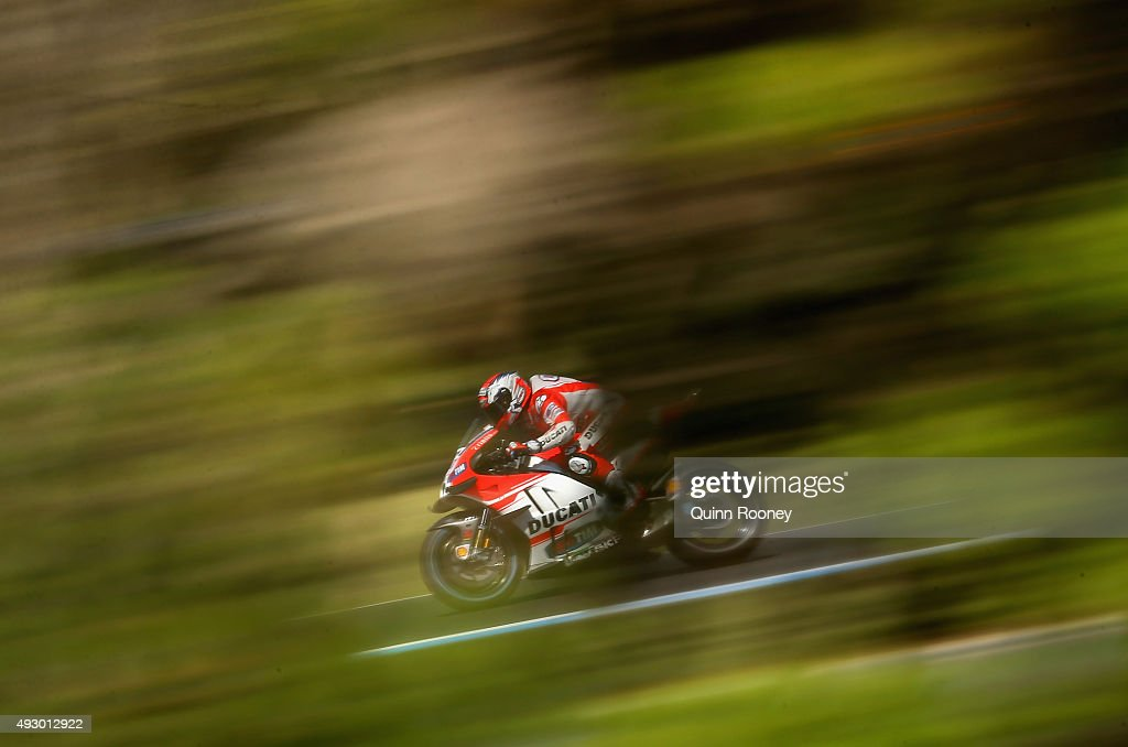 Andrea Dovizioso of Italy and the Ducati team rides during free practice for the 2015 MotoGP of Australia at Phillip Island Grand Prix Circuit on October 17, 2015 in Phillip Island, Australia.