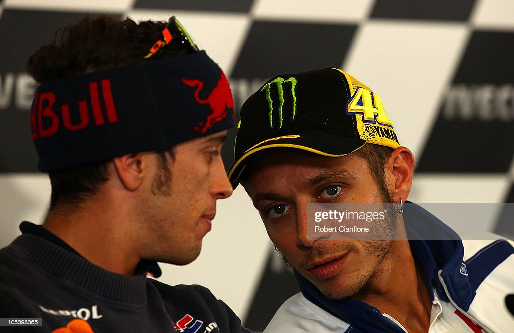 Andrea Dovizioso of Italy and the Repsol Honda Team talks with Valentino Rossi of Italy and the Fiat Yamaha Team during a press conference prior to the Australian MotoGP, which is round 16 of the MotoGP World Championship, at Phillip Island Grand Prix Circuit on October 14, 2010 in Phillip Island, Australia.