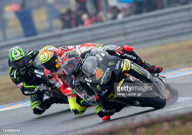 Andrea Dovizioso of Italy and Yamaha Tech 3 leads the field during the French MotoGP race on May 20 2012 in Le Mans France