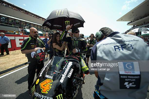 Andrea Dovizioso of Italy and Yamaha Tech 3 prepares on the grid before the MotoGP of Italy at Mugello Circuit on July 15 2012 in Scarperia Italy