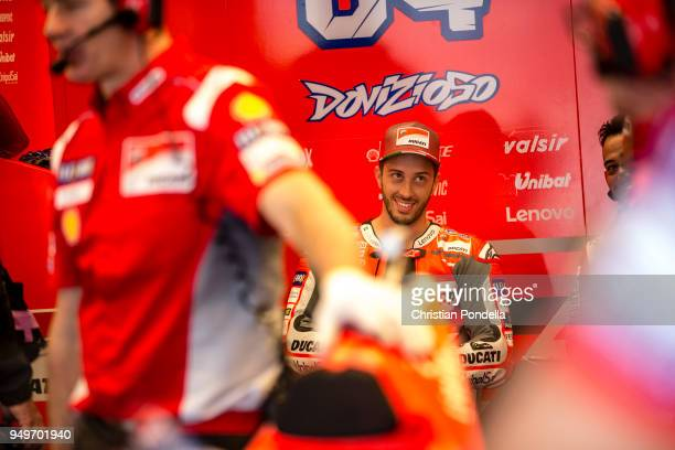 Andrea Dovizioso of Italy prepares in the pits during the MotoGP Red Bull US Grand Prix of The Americas Free Practice 3 at Circuit of The Americas on...