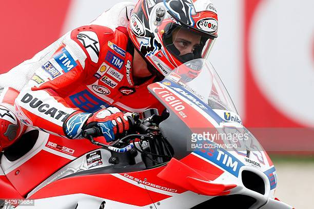 Andrea Dovizioso of Italy rides his Ducati during the MotoGP qualifying on the circuit of the TT Assen on June 25 2016 in Assen / AFP / ANP / Bas...