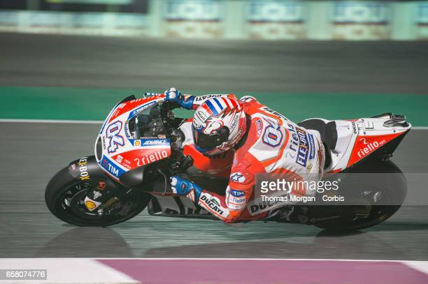 Andrea Dovizioso of Italy who rides Ducati for Ducati Team during free practice session 1 during the Grand Prix of Qatar on March 23 2017 in Doha...