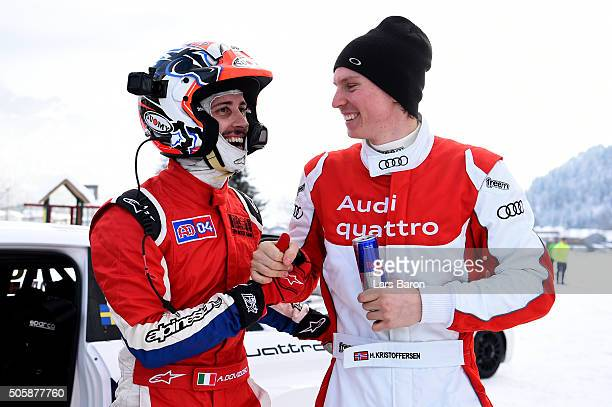 Andrea Dovozioso and Henrik Kristoffersen are seen during the final day of the Audi Quattro #SuperQ on January 20 2016 in Kitzbuehel Austria