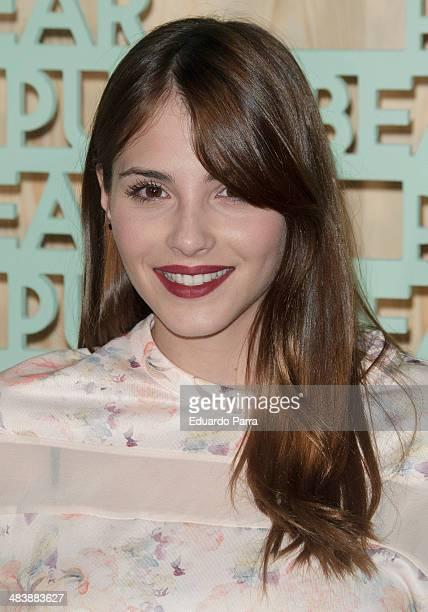 Andrea Duro attends 'Pull Bear' party photocall at Cibeles palace on April 10 2014 in Madrid Spain