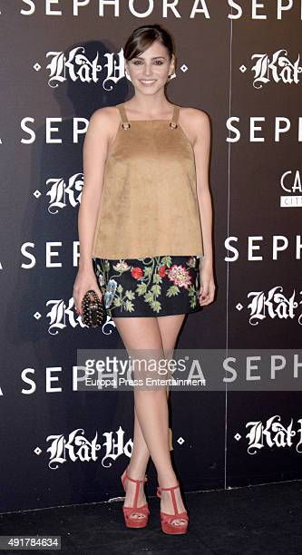 Andrea Duro attends the launch of the 'Kat Von D Beauty' make up collection on October 7 2015 in Madrid Spain