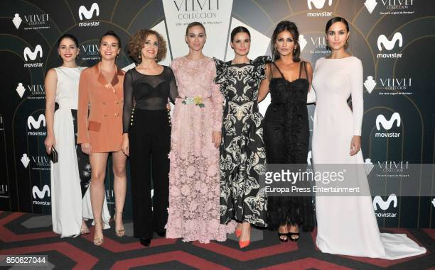 Andrea Duro Paula Usero Adriana Ozores Marta Hazas Marta Torne Monica Cruz and Megan Montaner pose during a photocall for the premiere of 'Velvet' at...