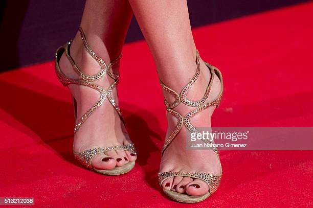 Andrea Duro shoes detail attends 'Cien Anos De Perdon' premiere at Capitol Cinema on March 1 2016 in Madrid Spain
