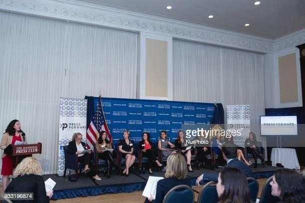 Andrea Edney President of The National Press Club introduces the Press Forward panel Dianna Burgess Lara Setrakian Cary Weekes Shannon Van Sant...