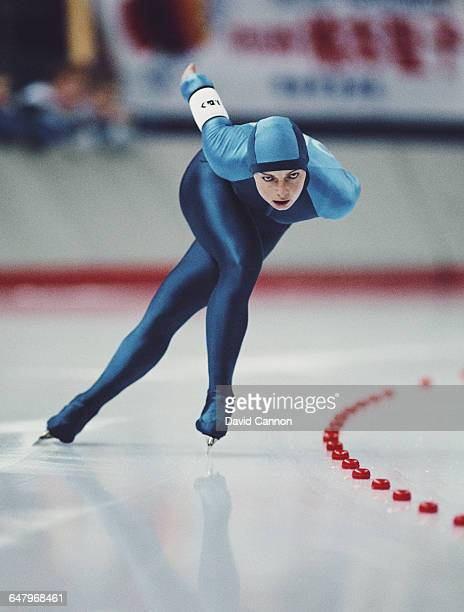 Andrea Ehrig of the Derman Democratic Republic East Germany skates in the Womens 3000m speed skating competition on 23 February 1988 during the XV...