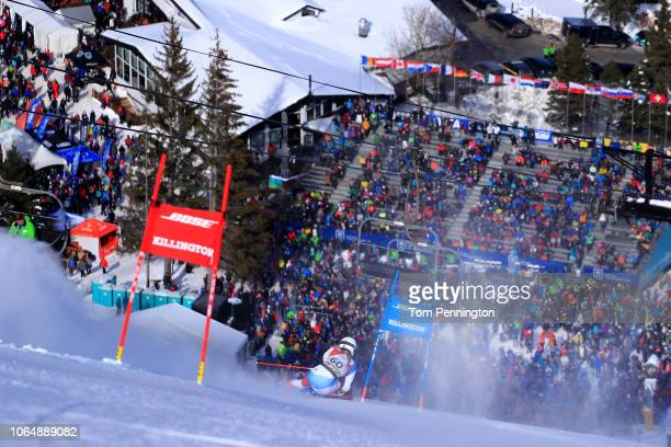 Andrea Ellenberger of Switzerland skis the first run of the Women's Giant Slalom during the Audi FIS Ski World Cup Killington Cup on November 24 2018...