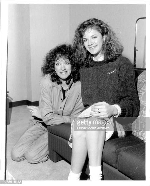 Andrea Elson star of ALF with her mother Elinor Regent Hotel City April 21 1987