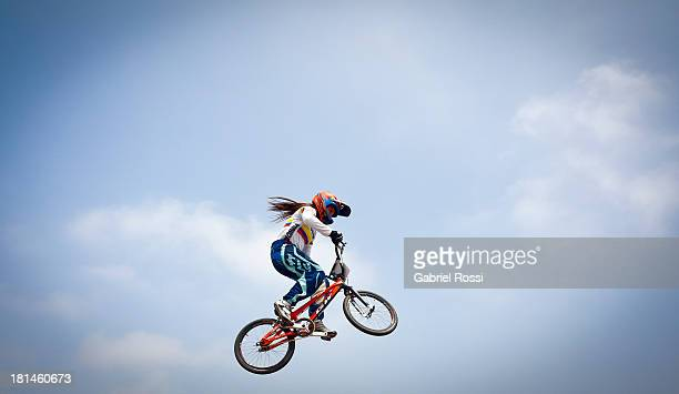 Andrea Escobar of Colombia competes during the BMX Women Expert as part of the I ODESUR South American Youth Games at Parque Huiracocha on September...