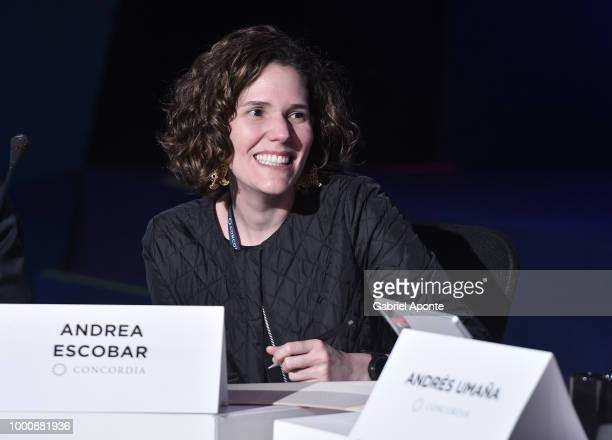 Andrea Escobar speaks during 'Digital Technology Data Privacy in the Americas' panel as part of the 2018 Concordia Americas Summit day 2 at Agora...