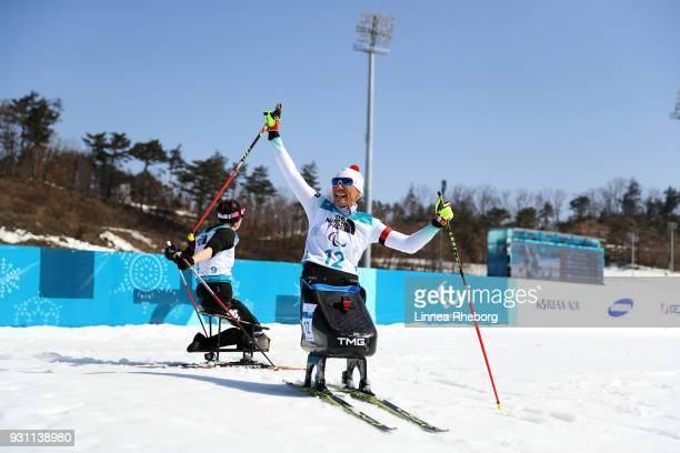 Andrea Eskau of Germany celebrates victory in the Biathlon Women's 10km Sitting on day four of the PyeongChang 2018 Paralympic Games on March 13 2018...