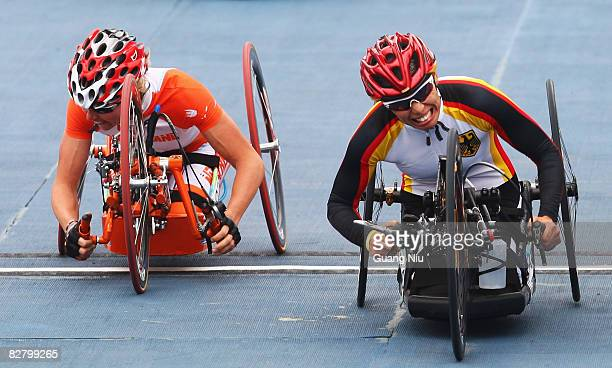 Andrea Eskau of Germany competes in the Road Cycling Women's Road Race at the Triathlon Venue during day seven of the 2008 Paralympic Games on...