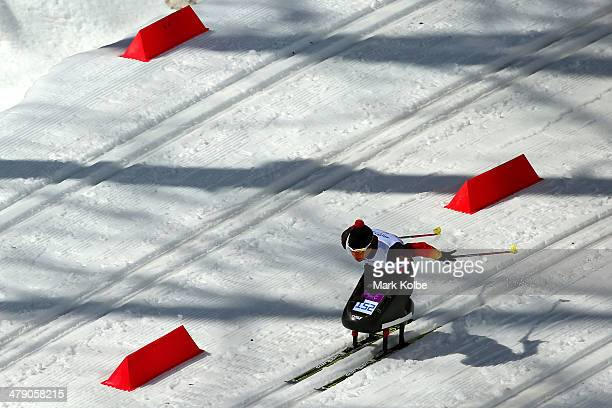 Andrea Eskau of Germany competes in the Women's Cross Country 5km Sitting on day nine of the Sochi 2014 Paralympic Winter Games at Laura Crosscountry...