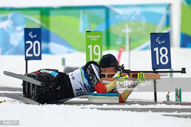 Andrea Eskau of Germany shoots during the Women's 24km Pursuit Sitting Biathlon on Day 2 of the 2010 Vancouver Winter Paralympics at Whistler...