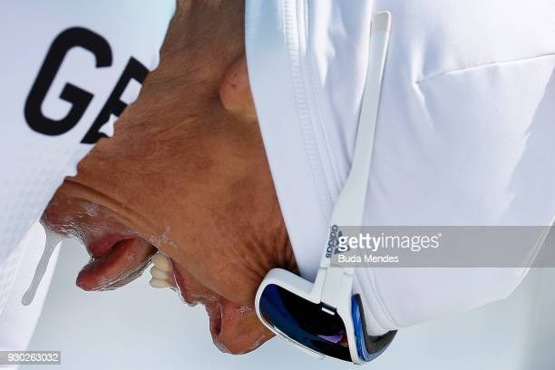 Andrea Eskau of the Germany reacts after crossing the finish line in second place in the Women's Cross Country 12km Sitting event at Alpensia...