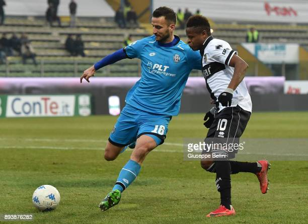 Andrea Esposito of AC Cesena and Ives Baraye of Parma Calcio in action during the Serie B match between Parma Calcio and AC Cesena at Stadio Ennio...