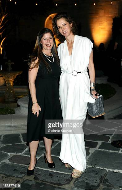Andrea Falcione Feldman and Jennifer Simchowitz attend LAXART Ball OF Artists Event at Greystone Mansion on January 28 2012 in Beverly Hills...