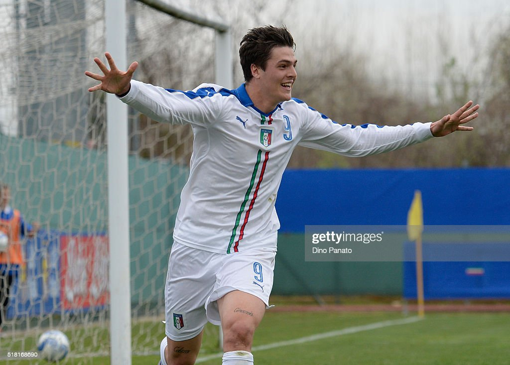 Andrea Favilli of Italy U19 celebrates after scoring his opening goal during the UEFA European U19 Championship Elite Round match Italy and Turkey at Stadio Comunale on March 30, 2016 in Caldogno, Italy.