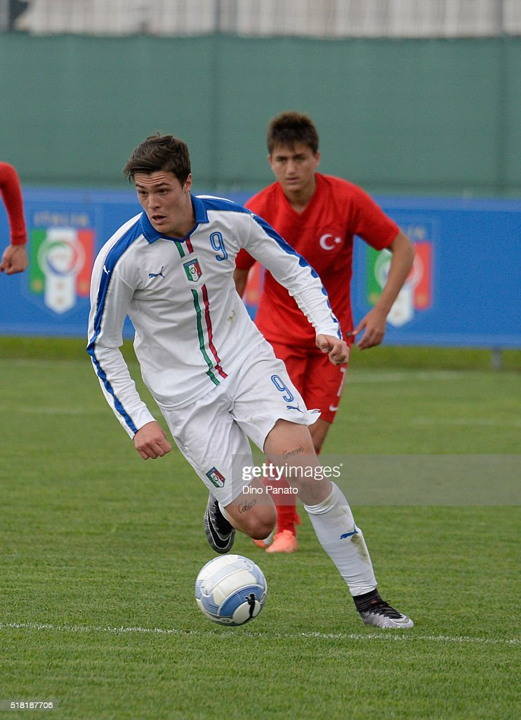 Andrea Favilli of Italy U19 in action during the UEFA European U19 Championship Elite Round match Italy and Turkey at Stadio Comunale on March 30, 2016 in Caldogno, Italy.