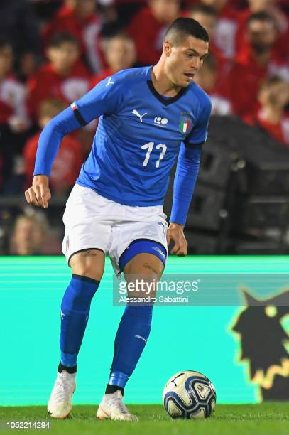 Andrea Favilli of Italy U21 in action during the International Friendly match between Italy U21 and Tunisia U21 at Stadio Romeo Menti on October 15...
