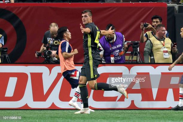 Andrea Favilli of Juventus celebrates after scoring the first goal of his team during a match between Juventus and MLS AllStars at MercedesBenz...
