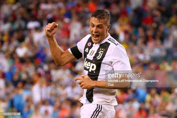 Andrea Favilli of Juventus celebrates scoring his second goal of the first half against Bayern Munich during the International Champions Cup 2018 at...