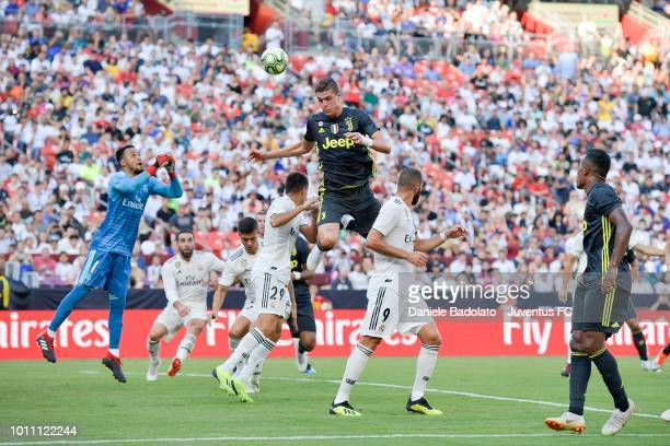 Andrea Favilli of Juventus goes for a header during Real Madrid v Juventus International Champions Cup 2018 match at FedExField on August 4 2018 in...