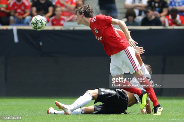 Andrea Favilli of Juventus makes a play against German Conti of Benfica during the International Champions Cup at Red Bull Arena on July 28 2018 in...