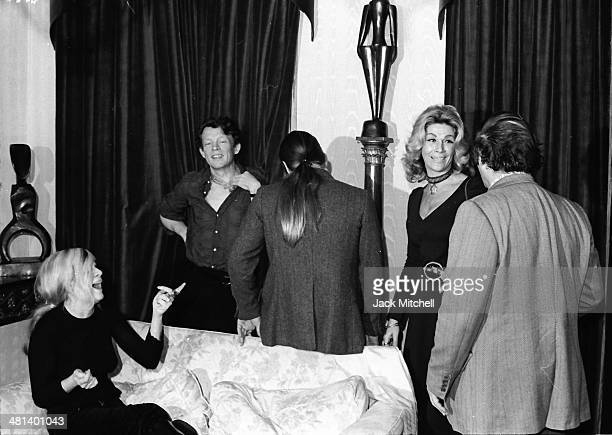 Andrea Feldman Harold Stevenson Sylvia Miles and Lester Persky filming Andy Warhol's 'Heat' in October 1971
