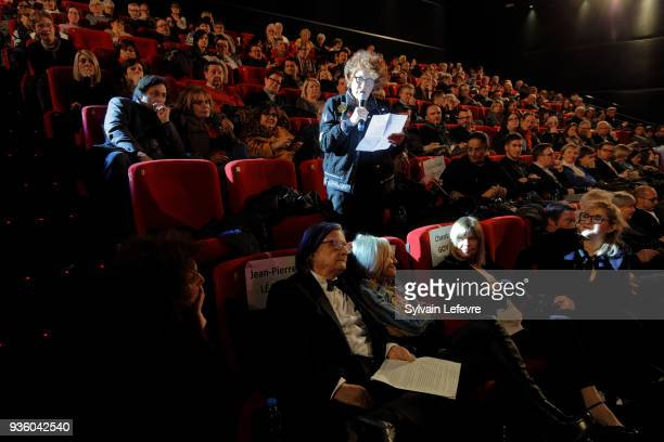 Andrea Ferreol and JeanPierre Leaud attend tribute to JeanPierre Leaud during Valenciennes Film Festival on March 21 2018 in Valenciennes France