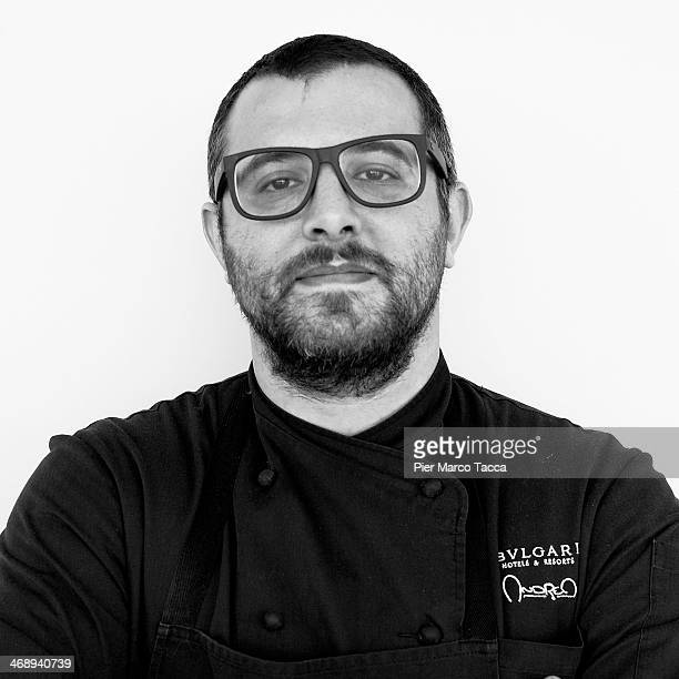 Andrea Ferrero Executive Chef of Bulgari Hotel poses before the Good Food in Good Fashion press conference on February 12 2014 in Milan Italy