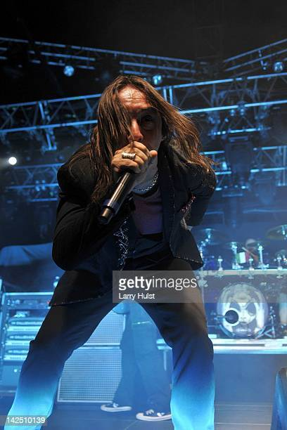 Andrea Ferro performs with 'Lacuna Coil' at the Fillmore Auditorium iin Denver Colorado on February 28 2012