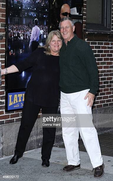 Andrea Finaly and Scott Kingsley Swift arrive for 'The Late Show with David Letterman' at Ed Sullivan Theater on October 28 2014 in New York City