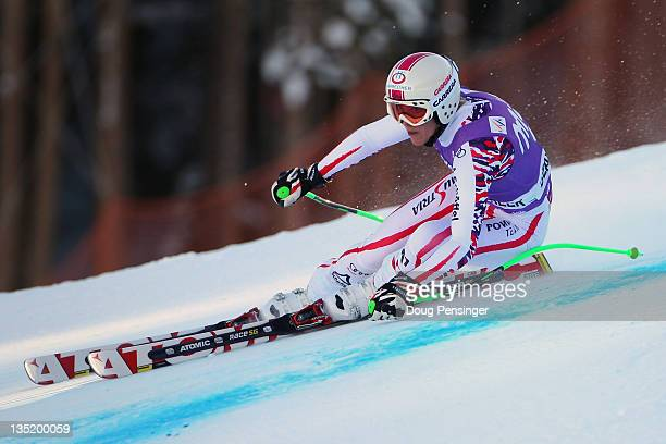 Andrea Fischbacher of Austria skis to fifth place in the women's Super G on the Birds of Prey at the Audi FIS World Cup on December 7 2011 in Beaver...