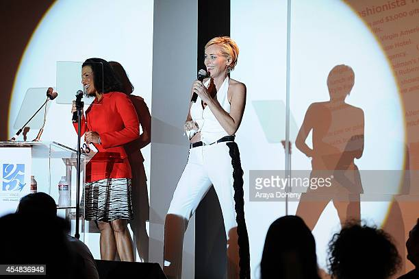 Andrea Fiuczynski and Sharon Stone attend the Project Angel Food's 25th Anniversary Angel Awards 2014 honoring Aileen Getty with the Inaugural...
