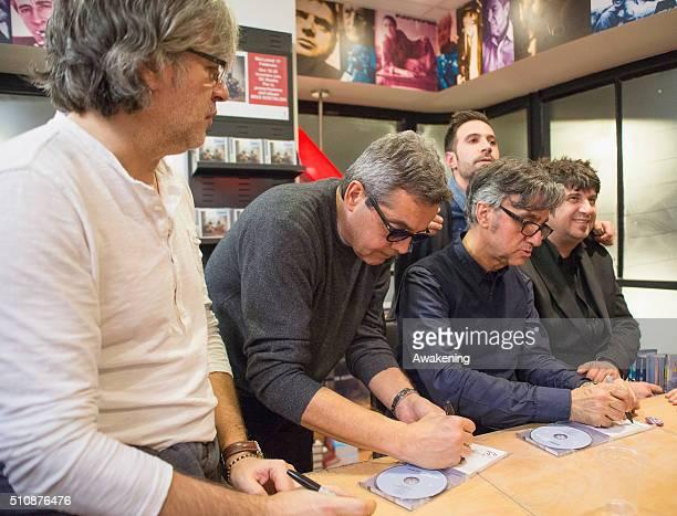 Andrea Fornili Giovanni Pezzoli Gaetano Curreri and Roberto Drovandi of Stadio are seen during the presentation of their new album 'Miss Nostalgia'...