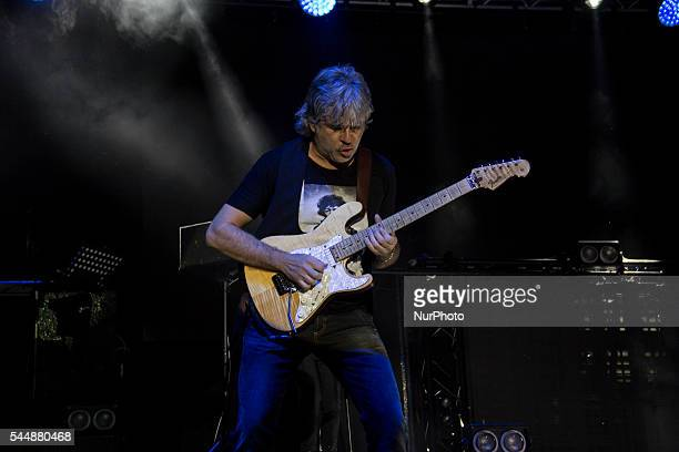 Andrea Fornili of Italian band quot Stadioquot play during the Carpi Summer Festival with their quotMiss Nostalgia tour 2016quot in Carpi Italy on 3...