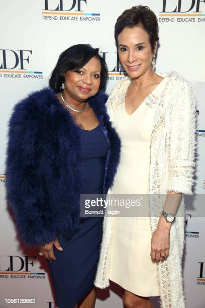 Andrea Frazier and Angela Vallot attend the NAACP LDF 32nd National Equal Justice Awards Dinner at The Ziegfeld Ballroom on November 1 2018 in New...