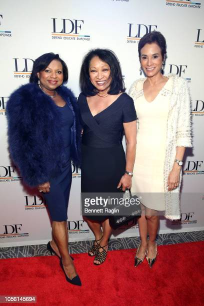 Andrea Frazier Ann Marie Wilkins and Angela Vallot attend the NAACP LDF 32nd National Equal Justice Awards Dinner at The Ziegfeld Ballroom on...