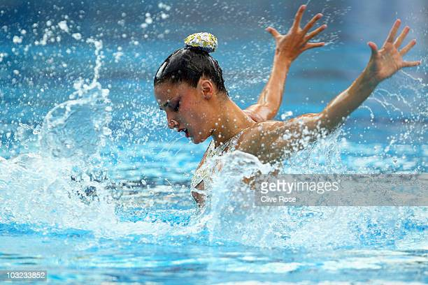 Andrea Fuentes of Spain competes in the Solo Free routine during the European Swimming Championship at the Hajos Alfred Swimming complex on August 4...