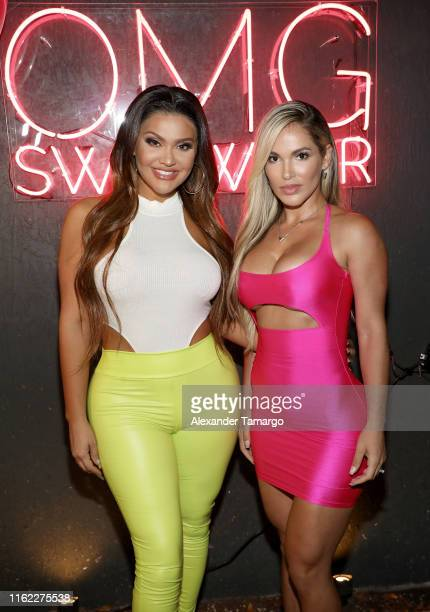 Andrea Gavira and Yelien Foley attend the OMG Swimwear Influencer Dinner on July 15, 2019 in Miami, Florida.