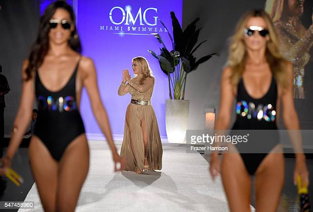 Andrea Gaviria walks the runway at the Official KickOff Party Of SWIMMIAMI hosted by Planet Fashion TV at W South Beach Hotel Residences on July 14...