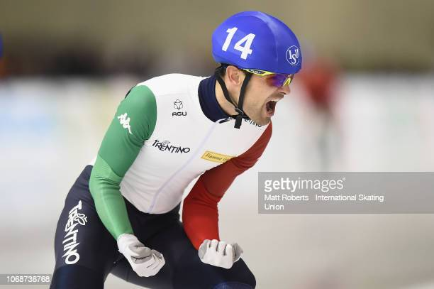 Andrea Giovanni of Italy celebrates winning the Men's Mass Start Final on day two of the ISU World Cup Speed Skating at Meiji HokkaidoTokachi Oval on...