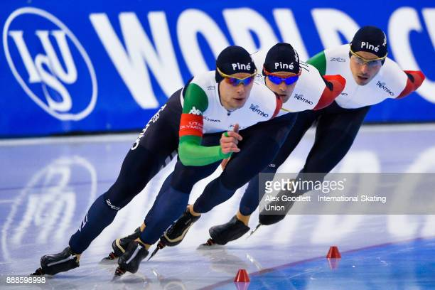 Andrea Giovannini Nicola Tumolero and Riccardo Bugari of Italy compete in the men's team pursuit during the ISU World Cup Short Track Speed Skating...