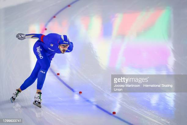 Andrea Giovannini of Italy competes in the Men's 5000m during day 3 of the ISU World Cup Speed Skating at Thialf on January 31, 2021 in Heerenveen,...