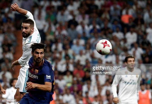 Andrea Gomes of Barcelona in action against the Daniel Carvajal of Real Madrid during the Spanish Super Cup return match between Real Madrid and...